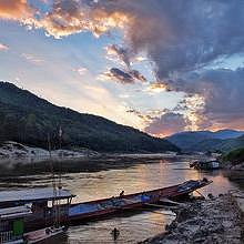 Sunset on the Mkeong River in Pakbeng