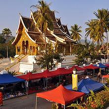 Night Market in Luang Prabang, in front the Royal Palace