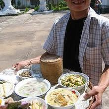 Lao dishes during the celebration of the ancestors in Luang Prabang