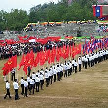 Parade for the birthday of 30 years of Communism in Laos