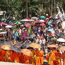 Monks parade during Pimay Lao in Luang Prabang