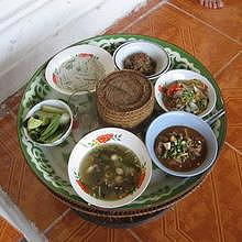 Dishes for the ancestors' celebration in Luang Prabang