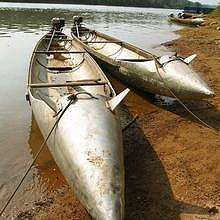Boat made from US steel, here in Southern Laos